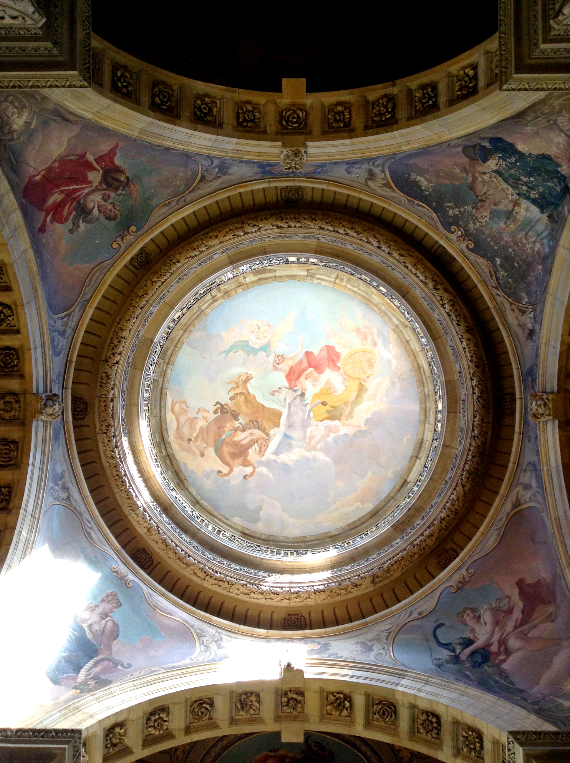looking up in stately home to painted dome