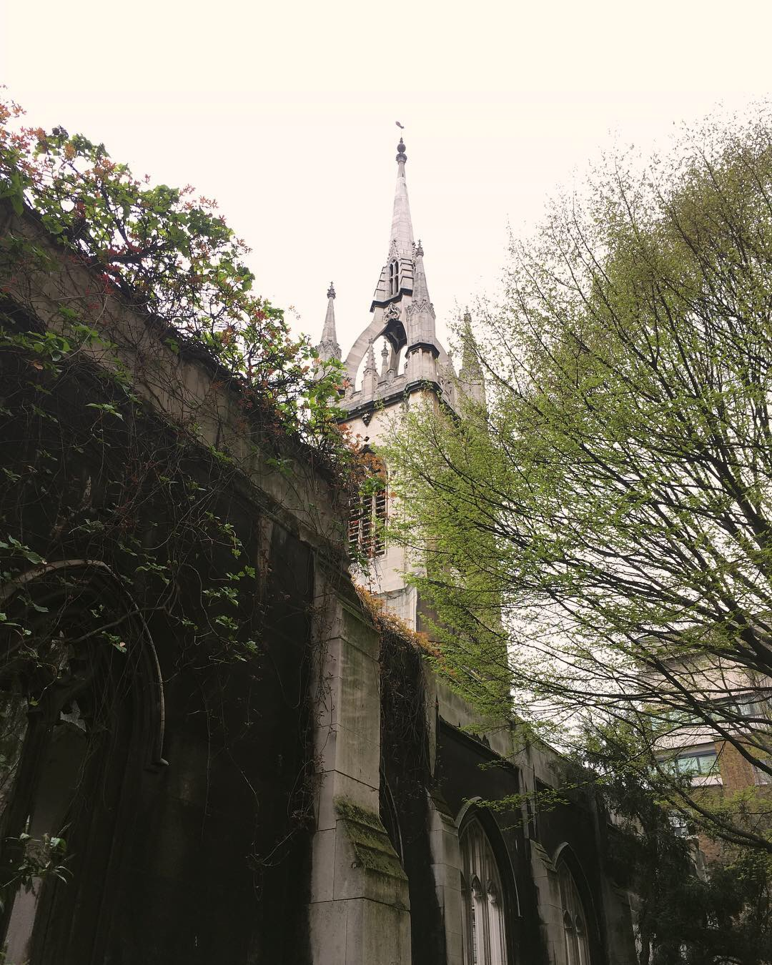 view of gothic spire of a ruined church with trees in foreground