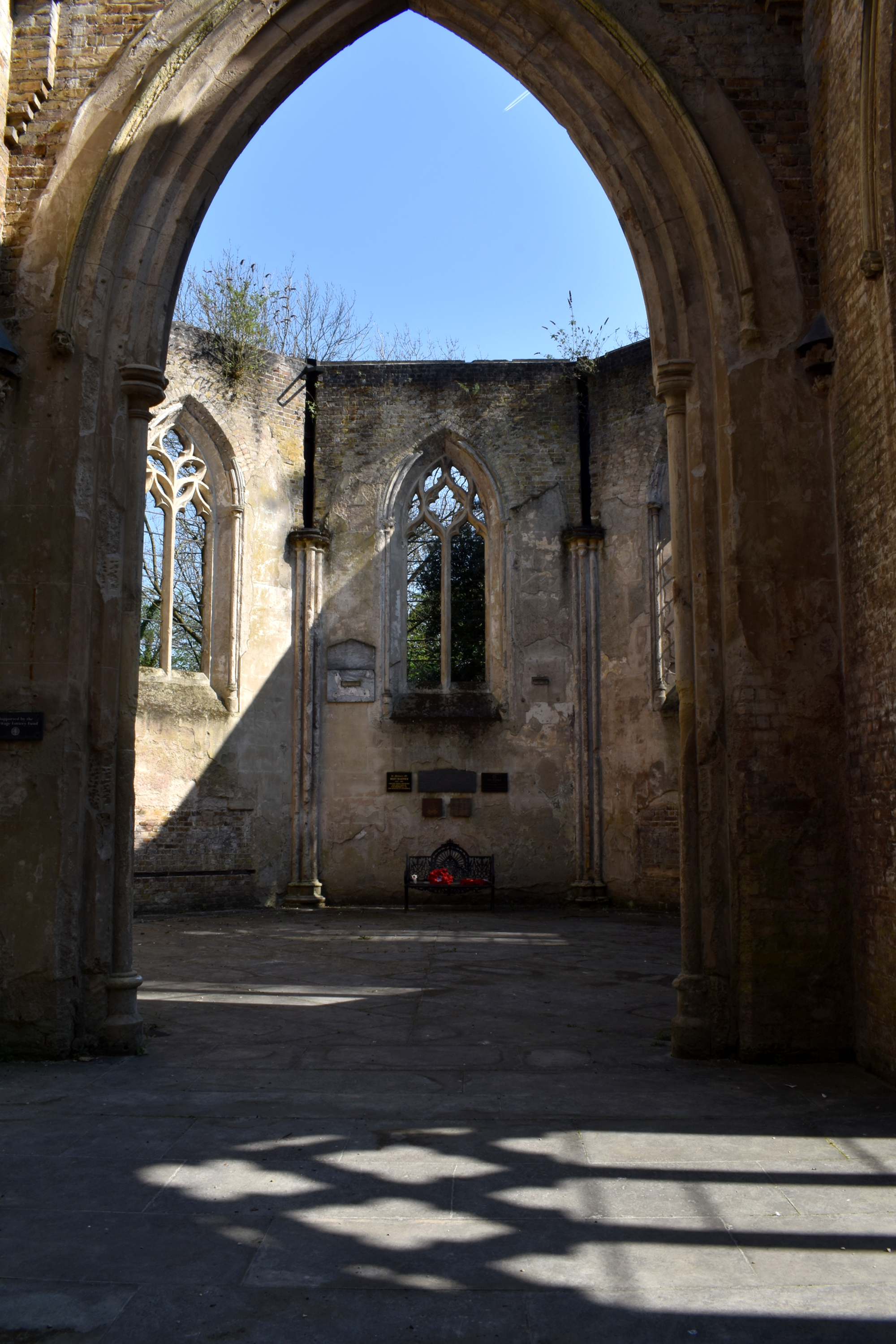 looking inside ruined church on sunny day