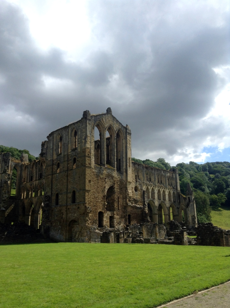 rievaulx abbey church view on cloudy day